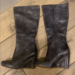 UGG distressed leather wedge tall boot